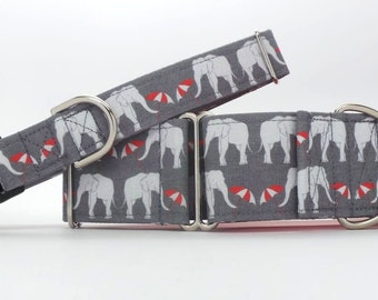 Elephant's On Parade Pet Collar (Martingale, Buckle, or Tag)