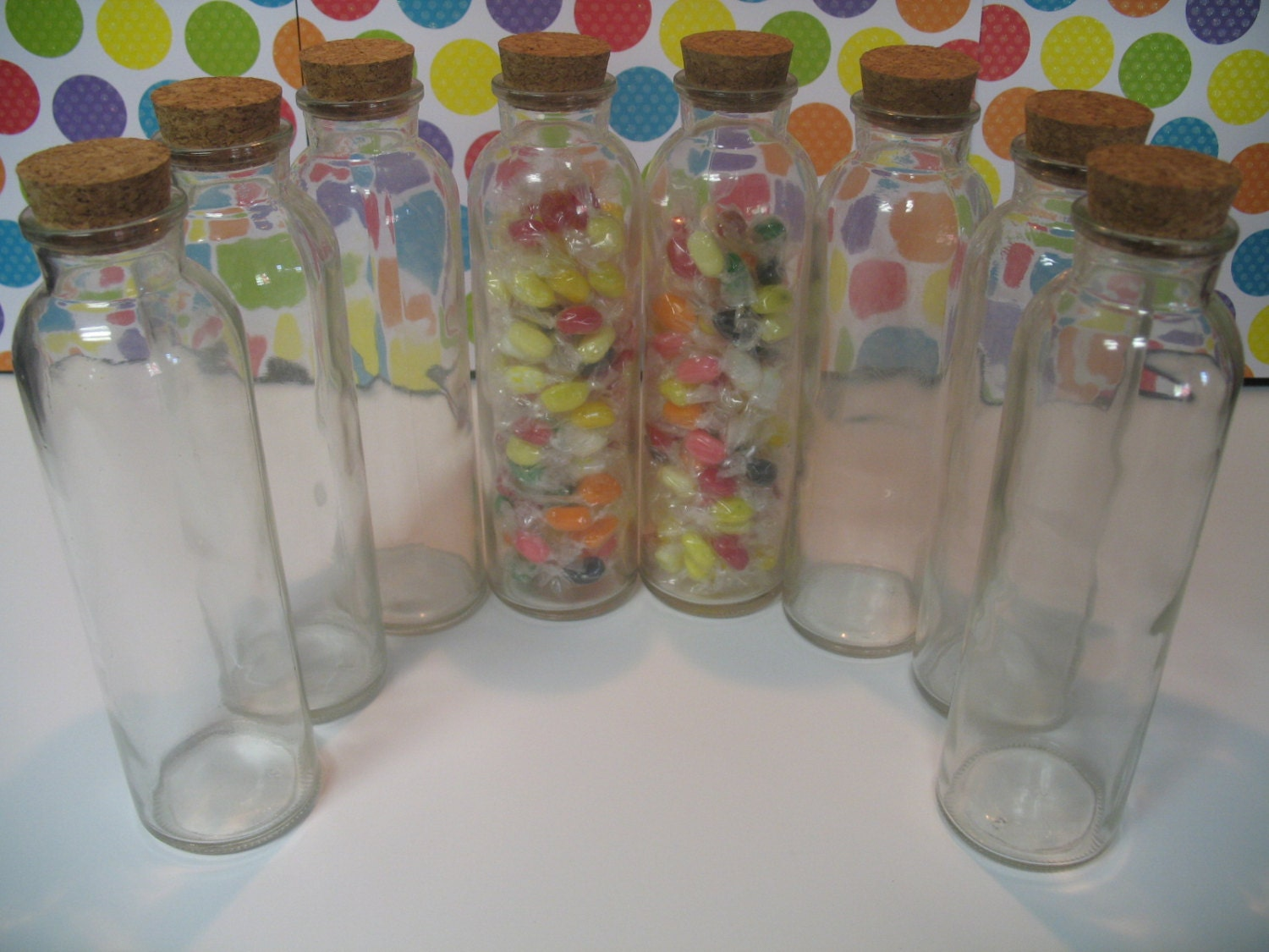 10 350ml Glass Bottles With Cork Jars Wholesale