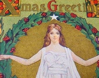 1914 Christmas Xmas Postcard Arts & Crafts Peace on Earth Angel Winona MN 21768