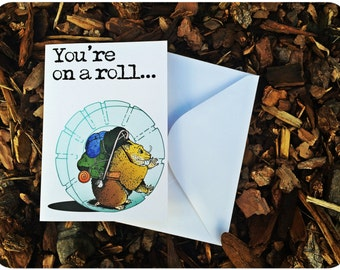 You're on a Roll - by Decaffeinated Designs (4x5 Greeting Card)