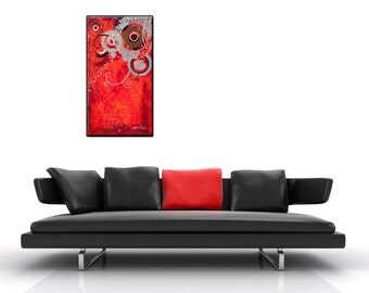 """Abstract  painting on canvas: """" Symphony"""" 35.4 x 19.7 x 2 inches"""