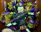 Welcome Halloween Deco Mesh Witch Wreath Spooky Holiday