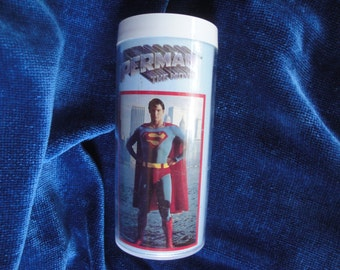Superman Insulated Tumbler/Christopher Reeve Superman Movie Tumbler/1978 Superman The Movie Collectible