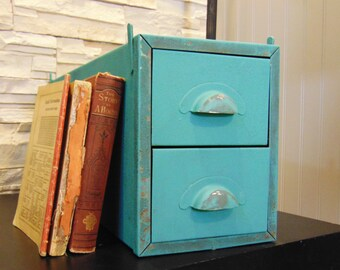 Vintage Industrial Metal Drawer Card Catalog Cabinet, Aqua Drawers Office Storage
