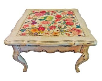 Vanessa, Vintage Coffee Table, White Floral Side Table, Shabby Chic Furniture
