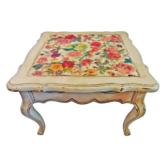 Vanessa Vintage Coffee Table White Floral Side Table Shabby