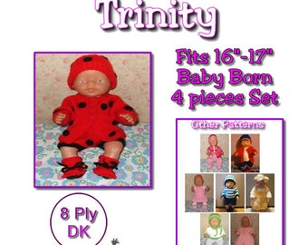 Baby Born Knitting Pattern TRINITY fits 16 to 17 inch dolls (pattern only)