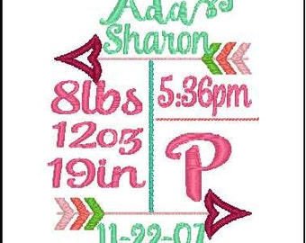 birth announcement embroidery design arrow embroidery design