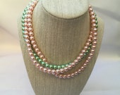 Courtney - Spring Necklace, Pink Green Necklace, Layered Necklace, Pearl Necklace,  Pink Green Beaded Necklace, Pink Green White necklace