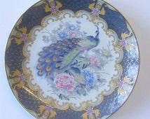 Vintage Japanese Peacock Plate - Delicate Colours, Decorative Plate. Age Unknown. U.K. Shop