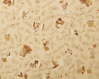 Little Golden Book Books Tan Wolf Bear Goose Poky Puppy Lion Elephant Fabric