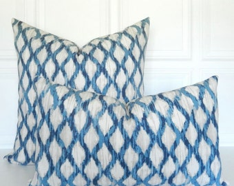 Blue and Tan Pillow Cover - Blue Decorative Pillow - 18x18, 20x20, Lumbar Ikat Wedgewood Blue - Navy Blue Pillow -  Blue Throw Pillow