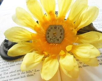 Yellow Hair Clip - Flower Hair Clip - Yellow Flower Clip - Steampunk Clip - Yellow Brooch - Flower Brooch - Steam Punk - Summer Fashion
