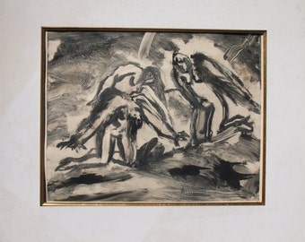 ORIGINAL MONOTYPE PRINT-Limited Edition-Vintage Fine Art Print