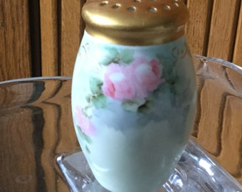 Vintage painted shaker with pink rose design