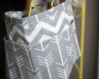 Vendor apron. Grey arrows and gray chevron apron. craft show apron.