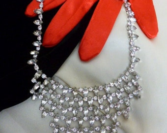 Rhinestone Bib Necklace, Collar Necklace, Clear Rhinestones, Bride, Event, Silver Tone Metal, Lots of Sparkle!