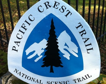 PCT - Pacific Crest Trail Sign - Hand Carved Wood Sign