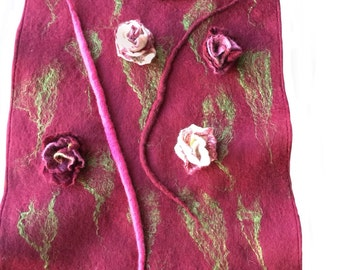 Nuno felt lace and 3D roses wrap