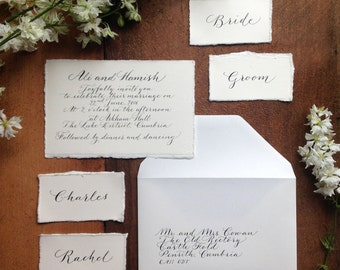 Luxe watercolour calligraphy wedding invitation