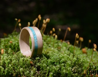 Wooden Ring - Maple & Turquoise stone