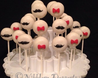 12 MUSTACHES and BOW TIES cake pops, Little man party, Hipster, gender reveal, baby shower