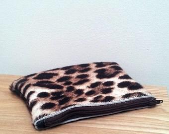 cowhide purse - leopard print cowhide pouch
