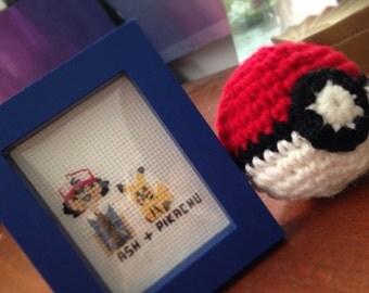 Pokemon Ash and Pikachu Cross Stitch Portrait