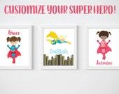KIDS Room Printable Art, Girl Super Hero Print, CUSTOM Download Digital File 8x10 Digital Print