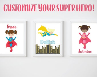 KIDS Room Printable Art, Girl Super Hero Print, CUSTOM Download Digital File 8x10 Digital Print
