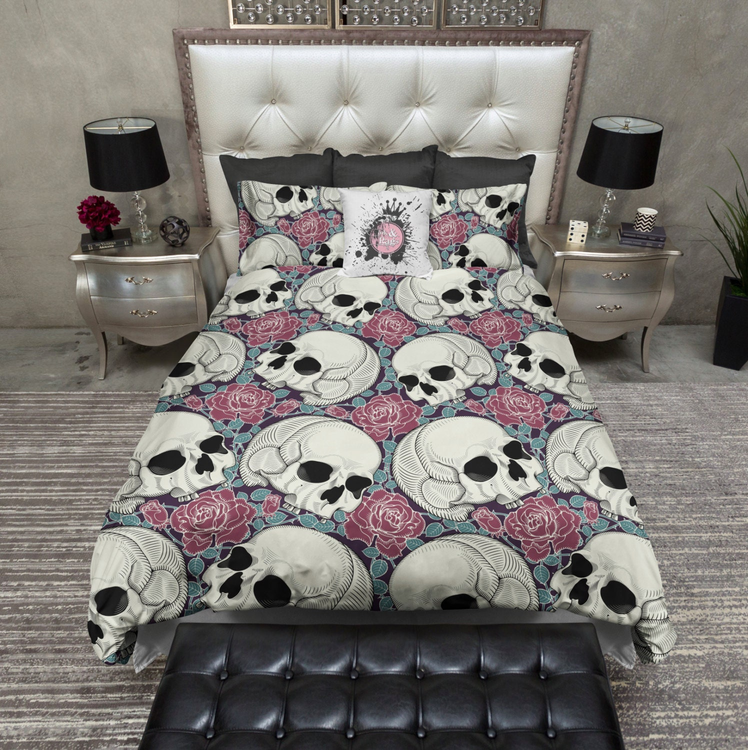 Featherweight Skull Bedding Skull and Rose Print by InkandRags