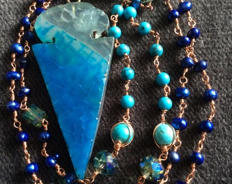 Blue Agate Arrowhead Necklace