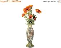 ON SALE Art Nouveau Style Vase. French Glass Poppy Vase.