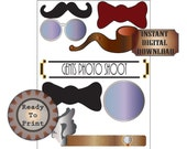 Gents Photo Booth Props Printable Roaring 20s Prohibition Party Decor Gatsby Wedding Decor Mens' Pipe Monocle Glasses Mustache Bow Ties