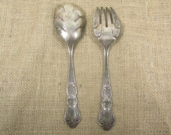 SILVER SPOON &FORK, flatware, Kitchen Utensil,serving, fork,spoon, serving set, wedding decor, flatware,