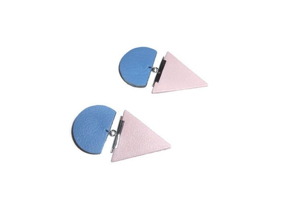Leather earrings in delicate sakura pastel pink and lavender blue colors/ Pantone 2016 inspired/ Geometric earrings