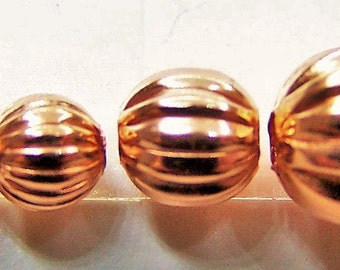 Real Copper Round Corrugated Beads 3mm - 4mm - 5mm - 6mm
