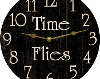 Time Flies Clock- Black