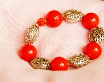 Red Stone Bead, Cutout Silver Bead Stretchy Bracelet