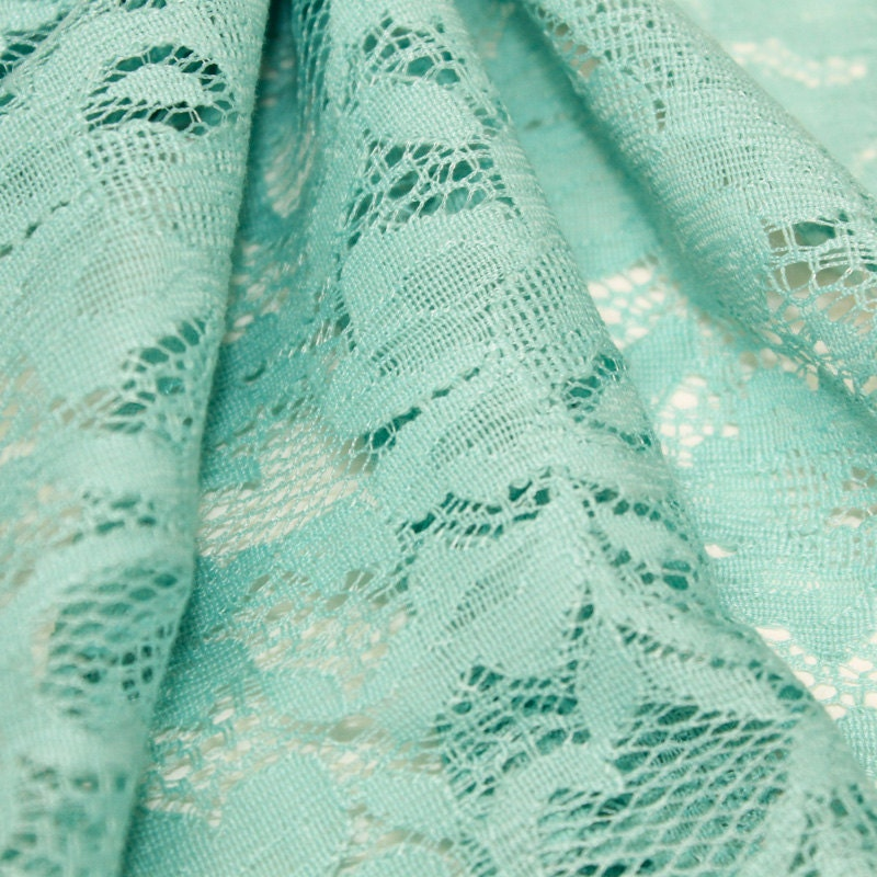 aqua chic pattern floral lace fabric by the yard or wholesale