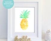 INSTANT DOWNLOAD, Pineapple Print, Pineapple Art, Watercolor Pineapple, Printable Pineapple, Tropical Art, Beach Art, Kitchen Art