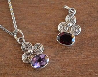 Small Cute Sterling Silver Pendant -Spiral-Amethyst & Garnet