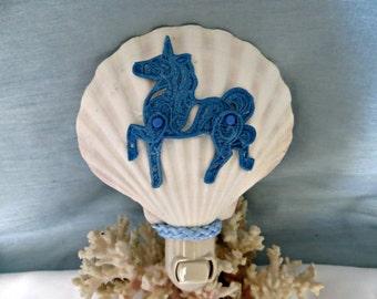 Seashell night light with blue unicorn design_beach decor lighting_coastal cottage light