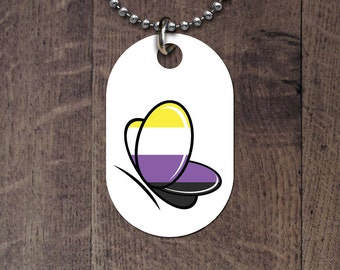 Nonbinary Flag Butterfly Dog Tag