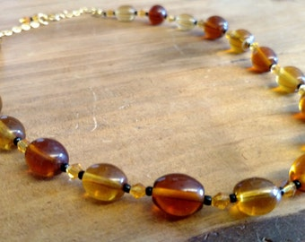 Gold and Brown Necklace