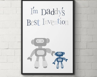 Robots printable art, father and son print, robots nursery art, printable nursery art,blue and grey, daddy and son quote, father's day gift