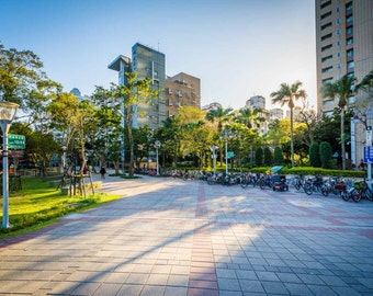 Buildings and walkways at Zhongqiang Park, in Taipei, Taiwan.   Photo Print, Stretched Canvas, or Metal Print.