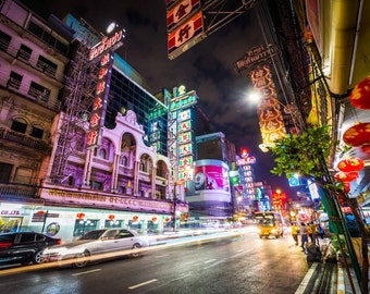 Neon lights and traffic on Yaowarat Road at night, in Chinatown, Bangkok, Thailand. | Photo Print, Stretched Canvas, or Metal Print.