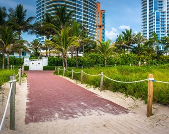 Path to the beach and skyscrapers in Miami Beach, Florida. | Photo Print, Stretched Canvas, or Metal Print.