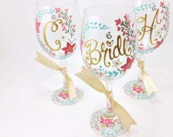 FREE SHIPPING ON 7 Plus Bride Maid of Honor Bridesmaid Floral Laurel Coral Wine Glass Personalized Wedding Shower Bachelorette Bridesmaid